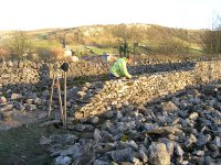Building a new dry stone wall for the Pennine Way bridalway at Stainford.